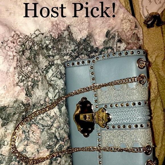 🌟HP!🌟Bluish gray bag with golden hardware